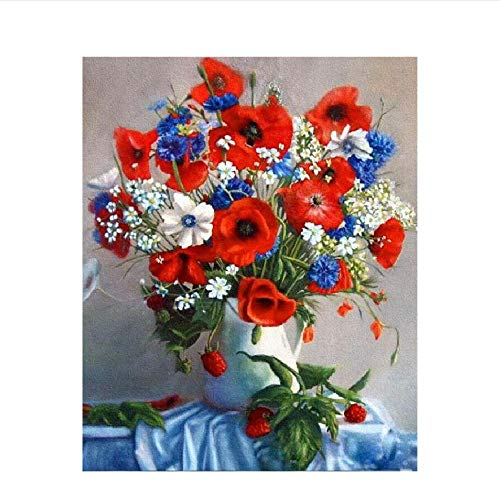 Classic Jigsaw Puzzle 1000 Pieces Wooden Puzzle Red Blue Purple Vase Flower DIY Modern Wall Art Unique Gift Home Decor 75X50Cm