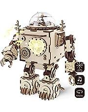 Robotime 3D-Laserschnitt Holzpuzzle - Erwachsen-Modell-Ausrüstungen - Orpheus DIY Roboter-Spieluhr mit geführtem Licht - kreativer Valentinstag / Geburtstags Jungen und Mädchen