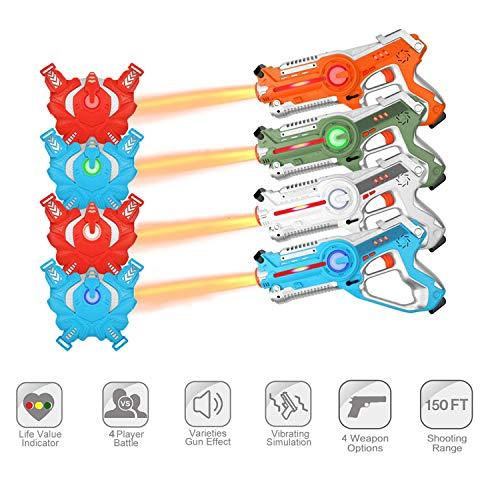 Laser Tag Guns Sets, Super Joy Infrared Laser Tag Sets with 4 Guns and 4 Vests, Laser Tag Gun Toys Indoor Outdoor Game for Boys Girls