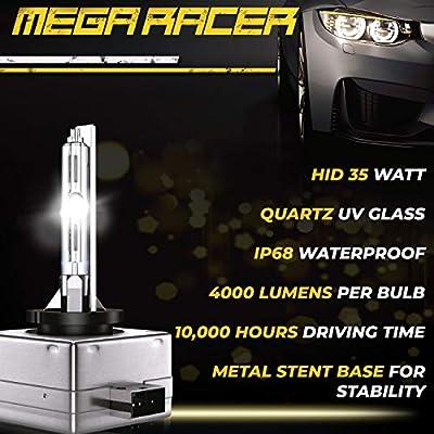 Mega Racer D1C D1R D1S Xenon HID Headlights Bulb 8000K Xenon Light Bulbs D1S Bulb Replacement HID Bulb 66147 66144 66049 66410 66146 8000K Sky Blue HID Bulbs HID Headlight Bulbs HID Bulbs Xenon Bulbs: Automotive