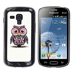 TopCaseStore / la caja del caucho duro de la cubierta de protección de la piel - Cute Colorful Big Eye Owl - Samsung Galaxy S Duos S7562