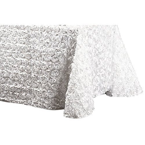 LinenTablecloth Rosette Satin Rectangular Tablecloth, 88 by 130-Inch, White ()