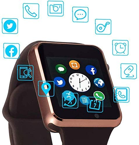 Junwei Smart Watch Color Touch Screen Bluetooth Smart Watch Sports Smart Watch TF/SIM Card Slot Smart Watch Multi Function Smart Watch Compatible with Samsung Android iPhone iOS Kids Women Men
