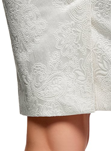 Collection Jacquard Bianco con Donna 1200n Gonna oodji in Cerniera 7zCUwUq