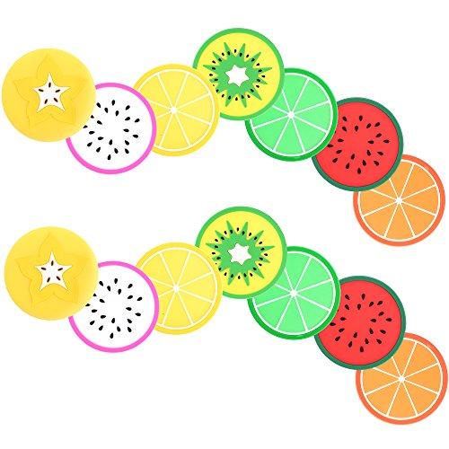 COSMOS Fruit Slice Silicone Coaster Non-Slip Drink Cups Pad, 14 Pcs
