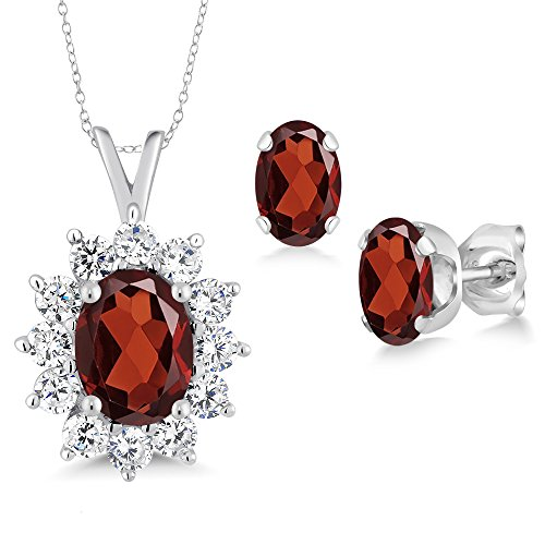 Garnet Rose Jewelry Set (2.44 Ct Oval Red Garnet 925 Sterling Silver Pendant Earrings Set)