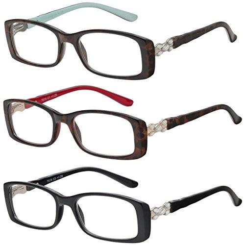 Reading Glasses Set of 3 Womens Quality Readers Fashion Rhinestones Glasses for Reading +1.25