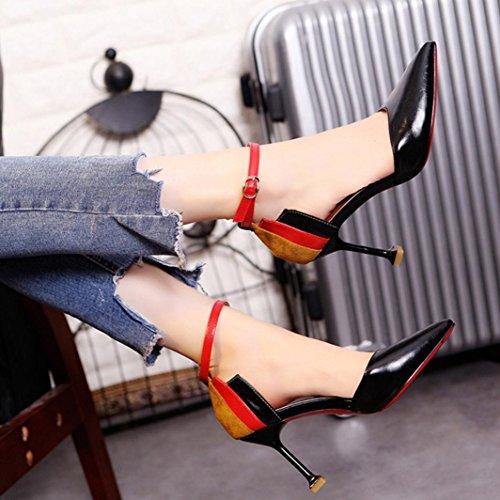 Patchwork Damenmode Heels Heels dünne High schwarz Schuhe Knöchelriemen hunpta Schuhe qIfRCwf