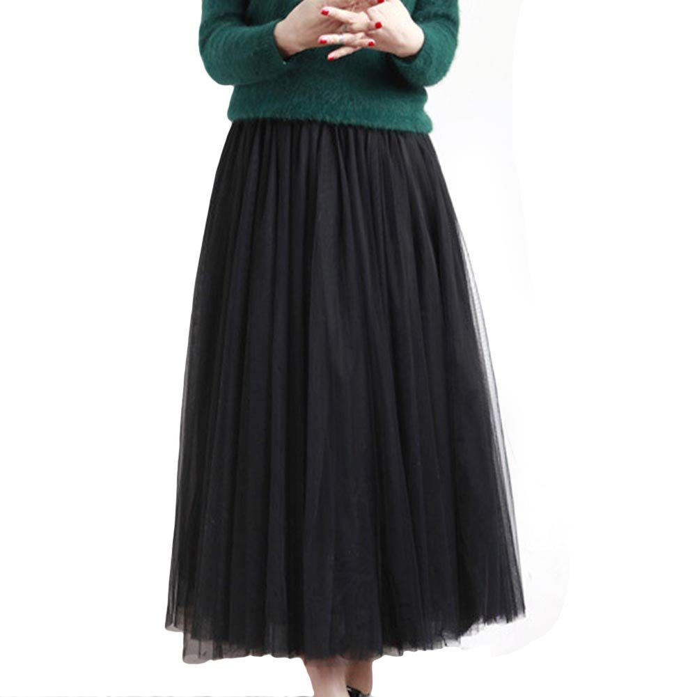 FUNOC Women's Midi Skirt Pleated TUTU Skirts Flowy Korean Style Gauze Skirt