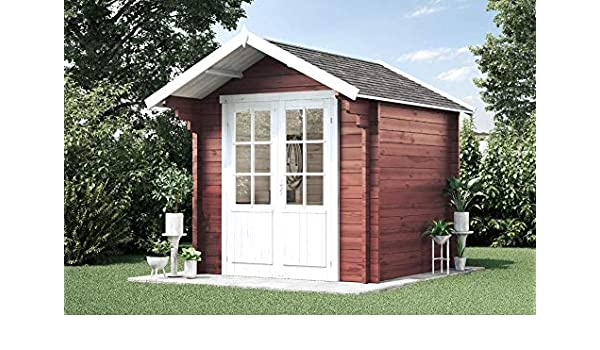 Alpholz Lena-44 - Caseta de jardín de madera maciza, con 44 mm de grosor de pared, incluye material de montaje, tamaño: 250 x 250 cm: Amazon.es: Jardín