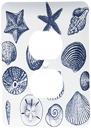 (3dRose lsp_155830_6  Blue Sea Shells Nautical Beach Theme Ocean Art 2 Plug Outlet Cover)