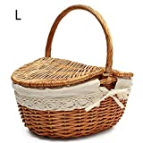 Labyrinen Handmade Wicker Basket with Handle, Wicker Camping Picnic Basket with Double Lids, Shopping Storage Hamper Basket with Cream Lining, Two Colors, S/L