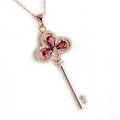725bbdd538 CK Up Golden rose Key collana con granato naturale: Amazon.it: Gioielli