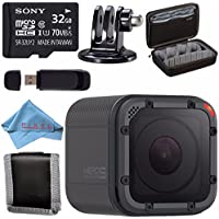 GoPro HERO5 Session CHDHS-501 + Sony 32GB microSDHC Card + Custom GoPro Case for GoPro HERO and GoPro Accessories + Tripod Adapter For GoPro Bundle
