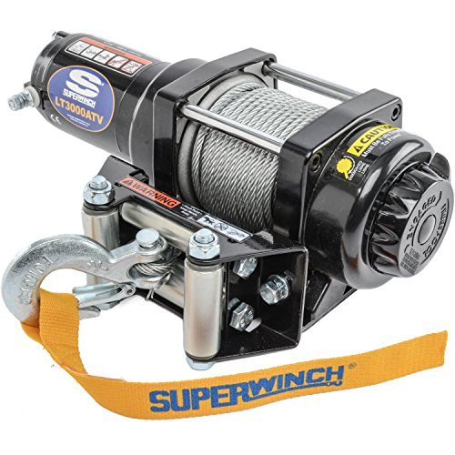 - Superwinch 1130220 LT3000ATV 12 VDC winch 3,000lbs/1360kg with roller fairlead, mount plate, handlebar rocker switch, and handheld remote
