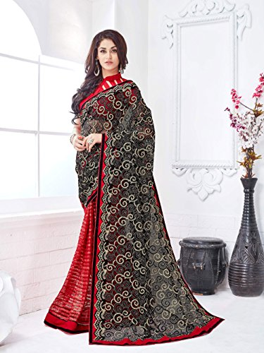 Viva-N-Diva-Black-And-Red-Net-Saree-With-Unstitched-Blouse-Piece