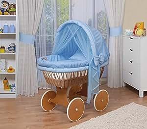 WALDIN Cuna Moisés, carretilla portabebés XXL, 44 colores a elegir,Madera/ruedas lacado,color textil azul/a cuadros