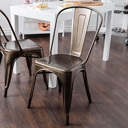 Tabouret Bistro Vintage Dark Bronze Steel Side Chairs Set of 2