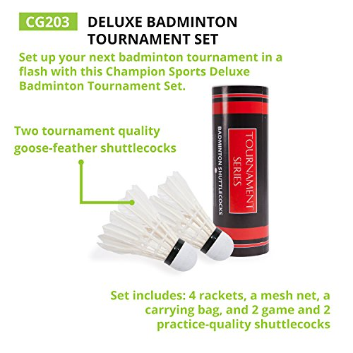 Champion Sports Outdoor Badminton Set: Net, Poles, 4 Rackets, 4 Shuttlecocks & Bag - Portable Equipment for Backyard Games, Team Sports, Adults & Kids by Champion Sports (Image #5)