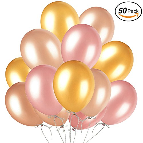 50Pcs Rose Gold Balloons & Gold & Champagne Gold, Color Latex Party Balloons for Baby Shower, Gender Reveal, Wedding, Hawaii, Bachelorette Graduation Birthday Party Decoration Supplies by A1BLU