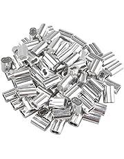 Futheda 100 stks Aluminium Krimpende Loop Mouw Clips met Dubbele Aangslijn/Gaten voor 1.5mm Kabel Draad Touw Zilver Tone