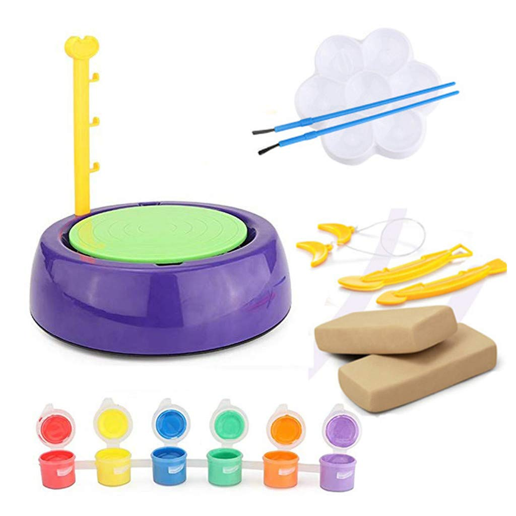 Wenini Beginners Pottery Wheel Kit for Kids, Educational Creative DIY Pottery Wheel, with Clay Paints and Tools DIY Toy for Kids for Fun (Multicolor) by Wenini