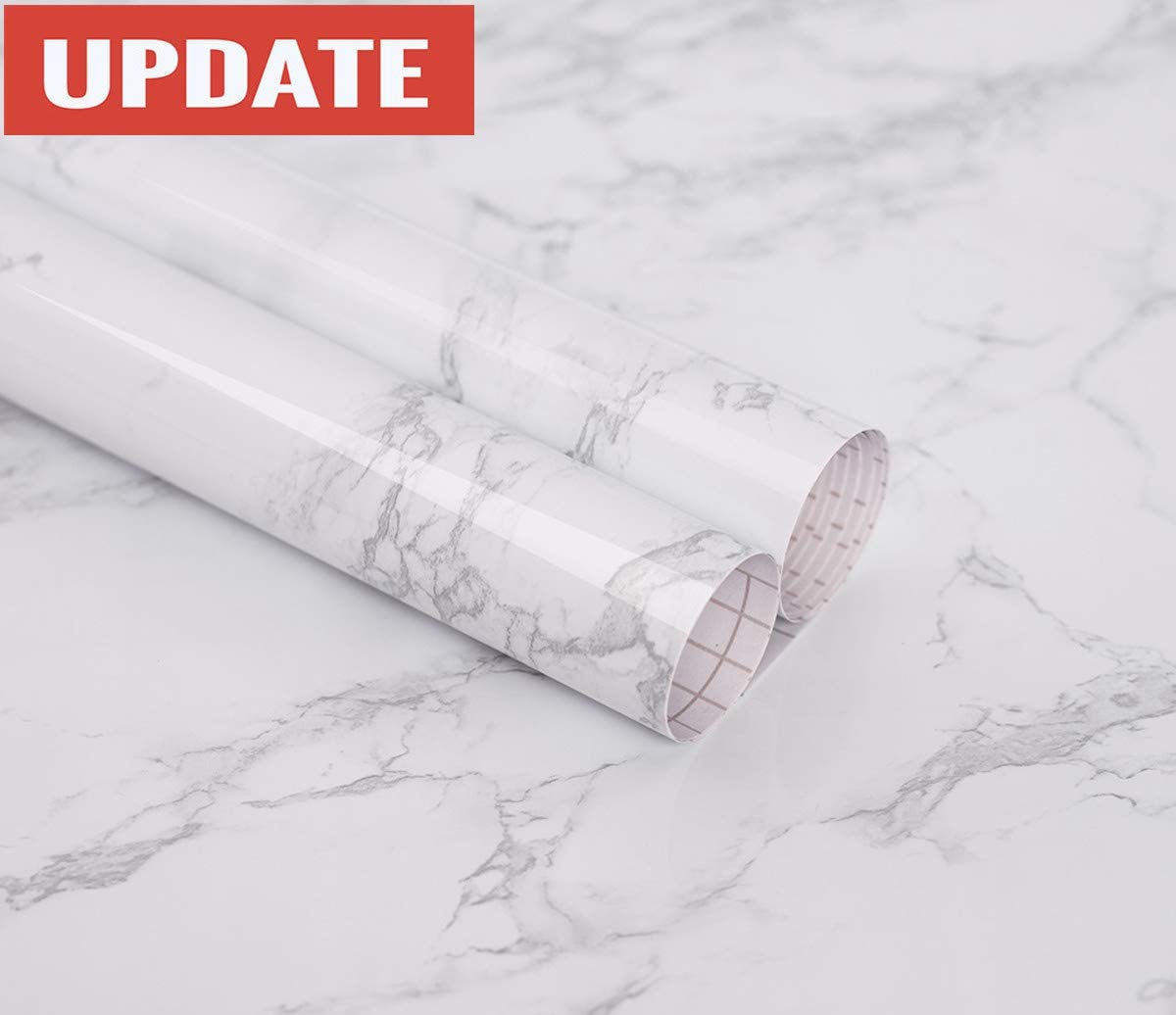 practicalWs Marble Paper Granite Gray/White Roll Kitchen countertop Cabinet Furniture is renovated Thick Waterproof PVC Easy to Remove Without Leaving Marks Upgrade (24'' x 118'')