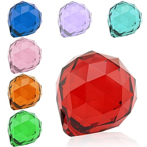 Topix 40mm Vintage Feng Shui Faceted Decorating Crystal Ball Prism (7 Color, 7pcs) by Topixdeals