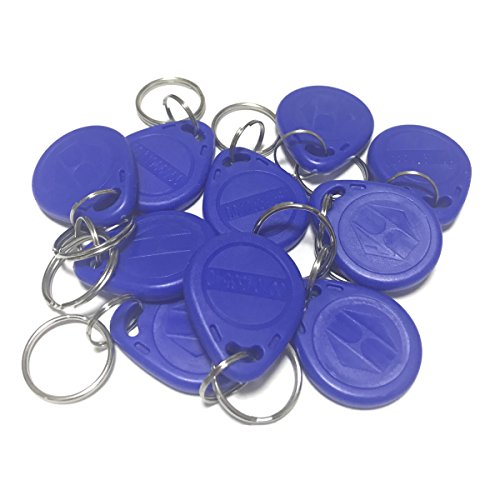 Xenocam 10pcs EM4100 125KHz RFID Proximity ID Card Token Tags Key Fobs Keyfobs for Access Contorl System (Blue)