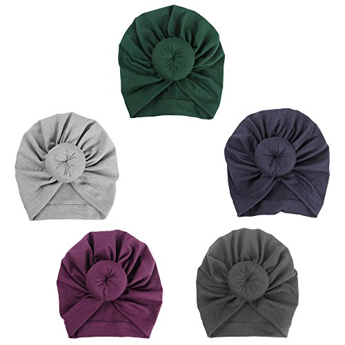 ISHOWDEAL 5PCS Baby Hat with Bow Baby Caps Cotton Hat Turban Headband for Newborn Toddler and Children Suitable for Baby 12-24 months,Black,purple,navy Blue,gray,dark Green, 7.7x0.79 in