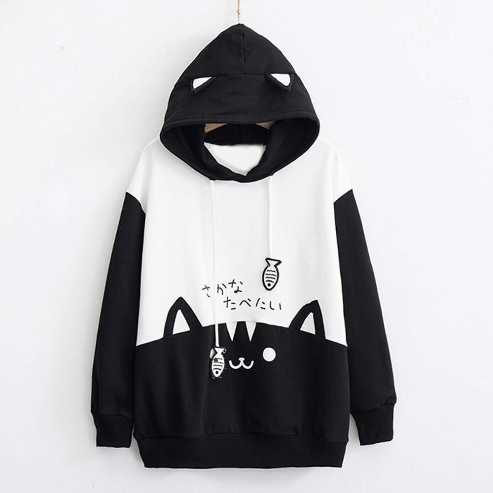 Pandaie Womens Shirts Long Sleeve Pullover Hooded Pockets Cat Print Hoodie Casual Slim Blouse Top