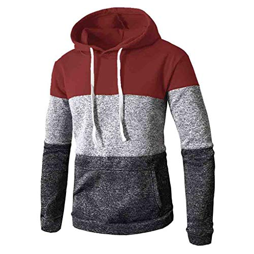 - Sunhusing Mens Autumn Winter Casual Colorblock Print Long Sleeve Pocket Slim Fit Hoodies Blouse Top