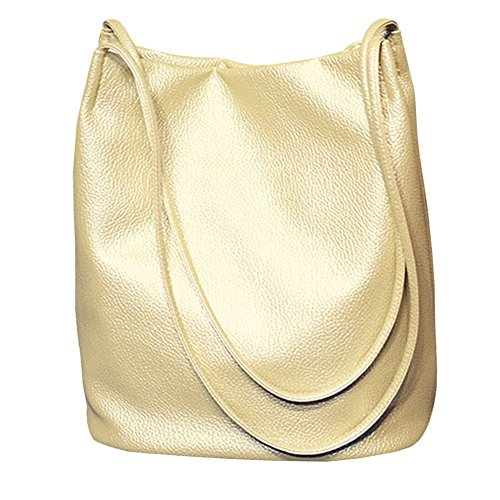 (Bucket Bag Womens Leather Handbags Purse Tote Hobo Shoulder Bags,Gold)