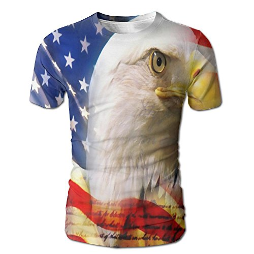 Juniors American Eagle (HXXUAN Eagle and American Flag Men's Full Print Short Sleeve T-Shirt Tee)