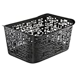 Rotho 1673080000 Urban Large Storage Basket made from polypropylene plastic, practical and chic, contents 10 L approximately 37 CM x 26.8 CM x 17.5 CM Black by Rotho