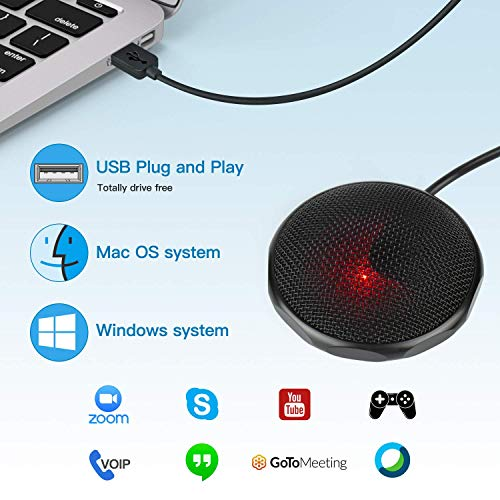 Conference USB Microphone for Computer,LarmTek Desktop Meeting Microphone Plug Play Omnidirectional Condenser PC Mic Compatible with Windows and Mac for Recording, Skype, Chatting,M1,US