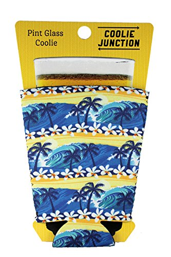 Coolie Junction Waves Beach Tropical Pattern Pint Glass Coolie