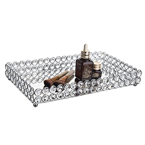 Feyarl Large Crystal Rectangle Mirrored Tray Cosmetic Vanity Tray Jewelry Organizer Tray Decorative Tray for Wedding Home Decoration (Silver) (Rectangle Tray Vanity)