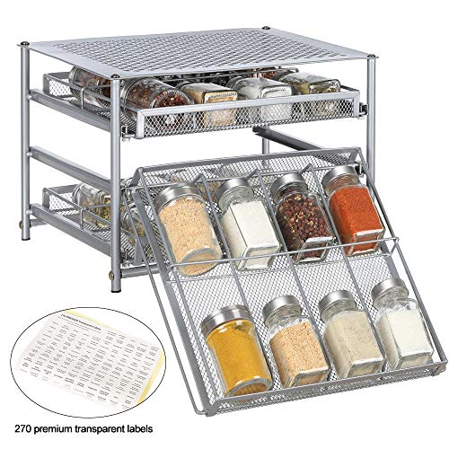 (NEX Spice Rack 3 Tier 24-Bottle Spice drawer Organizer for Pantry Kitchen Cabinet, Painting)