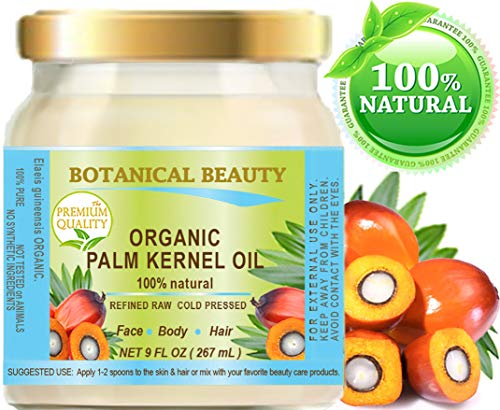 Palm Kernel Oil Soap - ORGANIC PALM KERNEL OIL Pure Cold Pressed. 9 Fl.oz - 267 ml. Palm Kernel Oil for soap making for Skin, Hair, Lip and Nail Care by Botanical Beauty