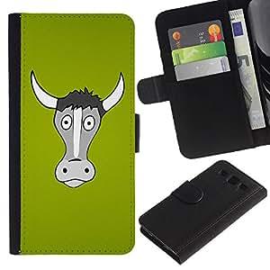 KingStore / Leather Etui en cuir / Samsung Galaxy S3 III I9300 / Divertido de cuernos de vaca Bull