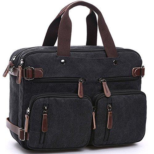 CESU Laptop Bag Hybrid Briefcase Backpack Messenger Bag for Men Women (BLACK)