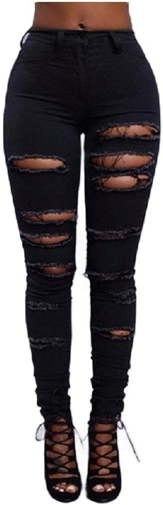 VITryst Women Pocketed Solid Colored Stretchy Ripped Elegant Straight Jeans