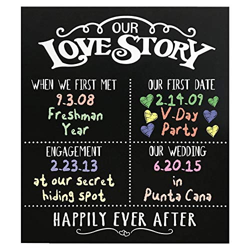 JennyGems - Our Love Story Chalkboard - First Met - First Date - Engagement Party Decor - Wedding - Anniversary - Happily Ever After - Photo Shoot Prop - Wedding Signs]()