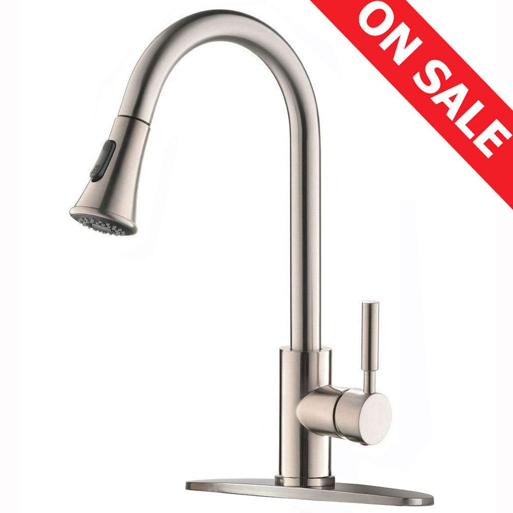 KINGO HOME Modern Commercial Lead Free High Arc Stainless Steel Single Lever Handle Pull Down Sprayer Brushed Nickel Kitchen Faucet, Kitchen Sink Faucet With Deck Plate