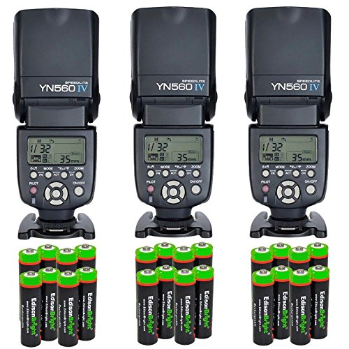 3 Pack YONGNUO YN560 IV YN-560IV Wireless Flash Speedlite Master / Slave Flash with Built-in Trigger System with 24 X EdisonBright Ni-MH rechargeable AA batteries bundle for Canon Nikon Pentax Olympus Fujifilm Panasonic Digital Cameras by Yongnuo