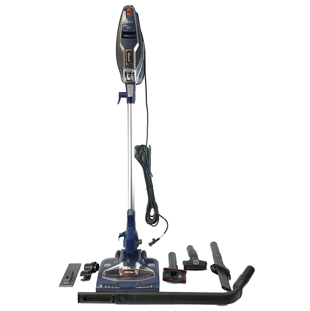Shark Rocket with DuoClean Technology Ultra-Light Corded Stick Vacuum Cleaner HV384QBL Upholstery Tool and Motorized Floor Nozzle for Bare Floor, Rug and High Pile Carpets HV384Q Blue Renewed