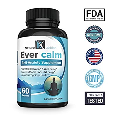 Ever Calm Stress Support Supplement for Anti Anxiety & Other Stress Related Symptoms ~ with Ashwagandha, GABA, Rhodiola, L-Theanine, St. John's Wort & B Vitamins by Naturo Nutrition