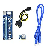 Riser Card, Alotm PCI-E 16X to 1X Ethereum ETH Mining Power Riser Adapter Card with 6-Pin PCI-E to SATA Power Cable, 60cm USB 3.0 Extension Cable