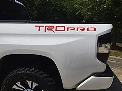BDTrims Domed Raised Letters Inserts fits TRD Pro Truck Bed 2014-2020 Tundra Models Both Sides Red and Black